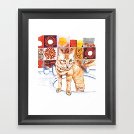 Gouache Cat  Framed Art Print