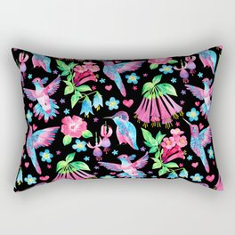 Humming Bird Garden Black Rectangular Pillow