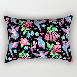 Humming Bird Garden Black Rectangular Pillow