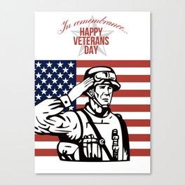 American Veterans Day Greeting Card Canvas Print