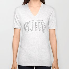 Wild Print With Feathers Unisex V-Neck