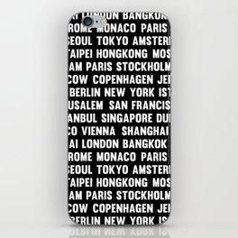 Famous City pattern black & White iPhone Skin