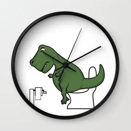 TRex dinosaur arms toilet funny gift Wall Clock