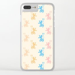 Vintage chic pink blue yellow lions damask pattern Clear iPhone Case