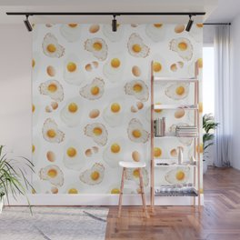 Broken and fried eggs. Wall Mural