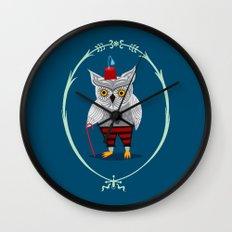 Olaf The Old Grey Owl Wall Clock