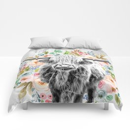 Highland Cow With Flowers on Marble Black and White Comforters