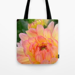 """""""Coral Tipped"""" Dahlia by Teresa Thompson Tote Bag"""