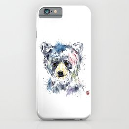 Baby Black Bear Watercolor Painting iPhone Case