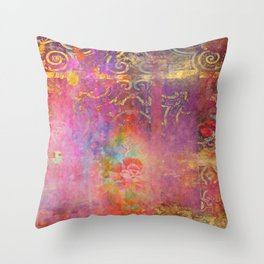 Boho Rose Throw Pillow