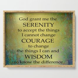 Serenity Prayer Gold on Blue-Green Serving Tray