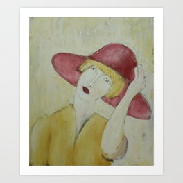 girl in red hat Art Print