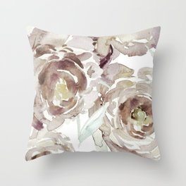 Earthy Painterly Floral Abstract Throw Pillow