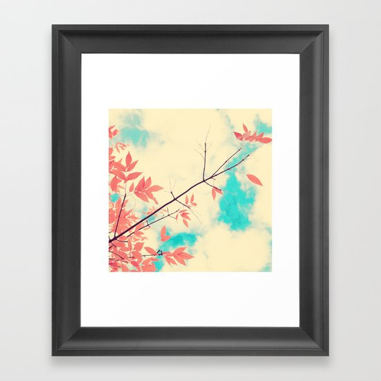 Pink fall leafs on retro vintage sky  Framed Art Print