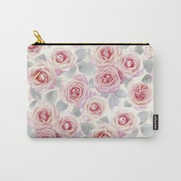 Mauve and Cream Painted Roses Carry-All Pouch
