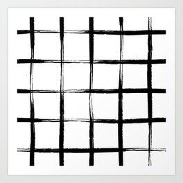 Black and white plaid, mid century pool tiles pattern, tartan Art Print