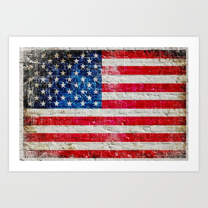 Distressed American Flag On Old Brick Wall - Horizontal Art Print