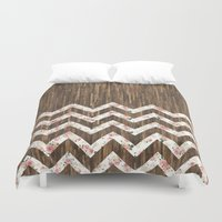 preppy Duvet Covers featuring Vintage Preppy Floral Chevron Pattern Brown Wood by Girly Road
