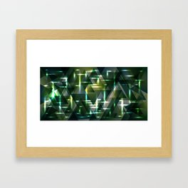 Spring pastel green and swamp shiny triangles. Framed Art Print