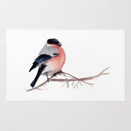 Bullfinch Bird Watercolor Rug