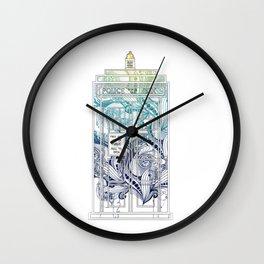 Mandala police box Wall Clock