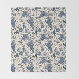 Blue Floral Pattern Throw Blanket