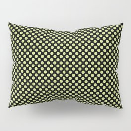 Black and Daiquiri Green Polka Dots Pillow Sham