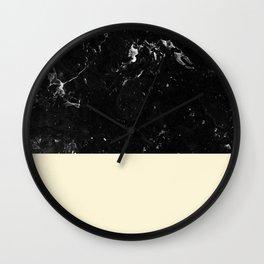 Light Blush Yellow Meets Black Marble #1 #decor #art #society6 Wall Clock