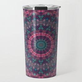 Mandala . Kaleidoscope .Pink blue . Travel Mug
