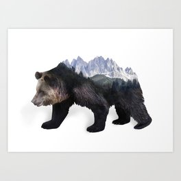 Bear Double Exposure Surreal Wildlife Native Animal Art Print