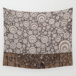 Groovy Brown Taupe Grey Circular Abstract Wall Tapestry