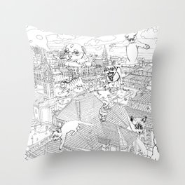 Giant cats and dogs take over the city Throw Pillow