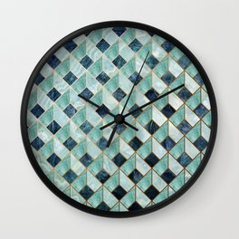 """Agate teal Indigo quartz Art Deco pastel"" Wall Clock"