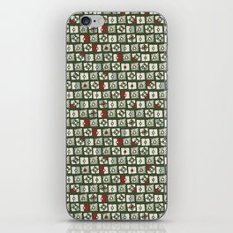 Geometrical green white red abstract stripes squares pattern iPhone Skin