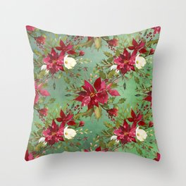 Burgundy red forest green white watercolor Christmas flowers Throw Pillow