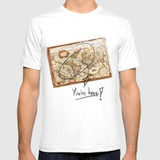 Vintage Map White Mens Fitted Tee MEDIUM