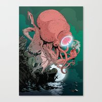 cthulhu Canvas Prints featuring cthulhu by Nahum Ziersch