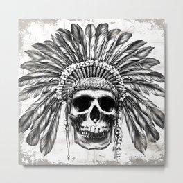 Indian Skull Headdress Metal Print
