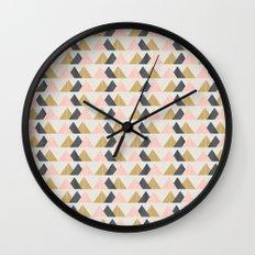 Gold + Black + Pink Mountains Wall Clock