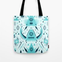 transformer Tote Bags featuring Triangle Alien Transformer Attack  by badbugs_art