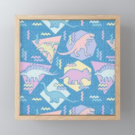 Nineties Dinosaurs Pattern  - Pastel version Framed Mini Art Print