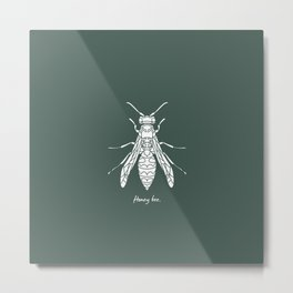 Honey Bee White on Green Background Metal Print