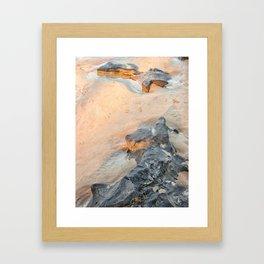 Rocks on beach, late afternoon Framed Art Print