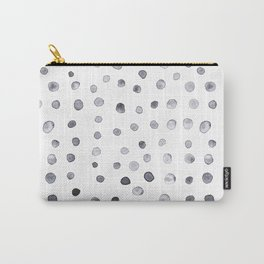 Minimalist Hand-painted Blue Dots Carry-All Pouch