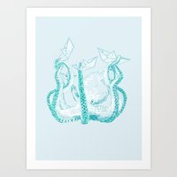 kraken Art Prints featuring Kraken by Badaro