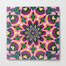 Abstract colorful Heart Flower Seamless Pattern Vector illustration Metal Print