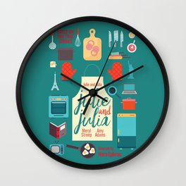 Julie and Julia, minimal movie poster, Meryl Streep, Amy Adams, Nora Ephron film, Julia Child, cook Wall Clock