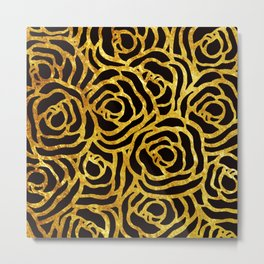 Black Flowers Gold Metal Print