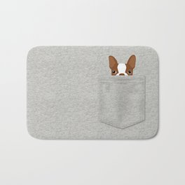 Pocket Boston Terrier - Red Bath Mat