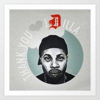 j dilla Art Prints featuring Thank You, J Dilla by yumgsta